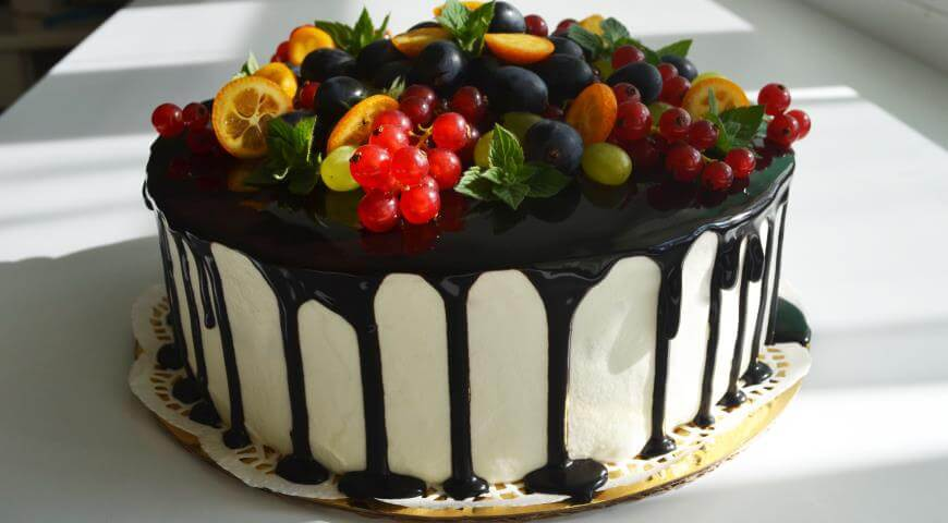 Рецепт торт с фруктами на день рождения своим руками фото
